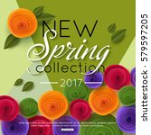 spring background with colorful ... | Shutterstock .eps vector #579597205