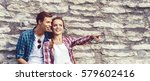 beautiful couple of hipsters... | Shutterstock . vector #579602416