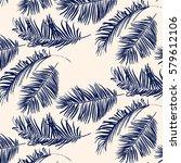 blue palm leaves pattern  | Shutterstock .eps vector #579612106