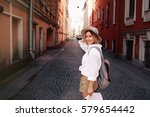 travel guide. young female... | Shutterstock . vector #579654442