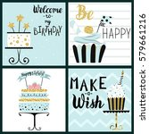happy birthday party cards set... | Shutterstock .eps vector #579661216