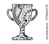 zentangle winner silver cup ... | Shutterstock .eps vector #579661576