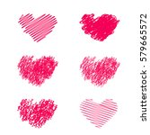 heart icons set  hand drawn... | Shutterstock .eps vector #579665572