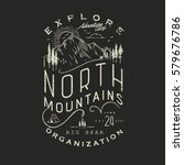 Mountain Hand Drawn Emblem Template. Outdoor activity symbol. Vector illustration.Vector mountain with texture. | Shutterstock vector #579676786