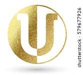 u golden bright letter logo | Shutterstock .eps vector #579677926