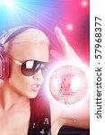 stylish female dj | Shutterstock . vector #57968377