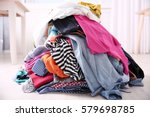 messy colorful clothing  closeup   Shutterstock . vector #579698785