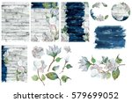 watercolor collection of floral ... | Shutterstock . vector #579699052
