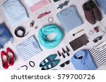 stylish clothing set on wooden... | Shutterstock . vector #579700726