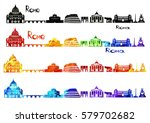 silhouette sights of rome in b... | Shutterstock .eps vector #579702682