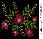 embroidery stitches with spring ... | Shutterstock .eps vector #579709432