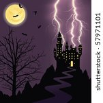 Full Moon  Flying Bats And...