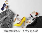 flat lay set of female clothes... | Shutterstock . vector #579711562