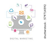 digital marketing isolated on... | Shutterstock .eps vector #579714592