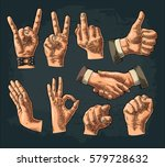 male and female hand sign. fist ... | Shutterstock .eps vector #579728632