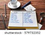notebook with list of...   Shutterstock . vector #579732352