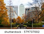 canary wharf in london seen... | Shutterstock . vector #579737002