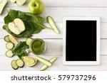 detox cleanse drink  green... | Shutterstock . vector #579737296