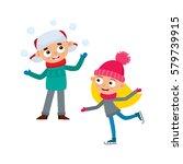 cartoon teenages in winter...   Shutterstock .eps vector #579739915