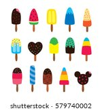 popsicle vector set  ice lolly... | Shutterstock .eps vector #579740002