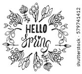 hello spring greeting card.... | Shutterstock .eps vector #579741412