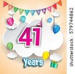 41 years birthday design for