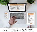 office tabletop with tablet ... | Shutterstock . vector #579751498
