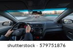 city road view from inside car... | Shutterstock . vector #579751876