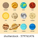 planet icon set. planets with... | Shutterstock .eps vector #579761476