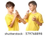 cute boys with ice cream on... | Shutterstock . vector #579768898