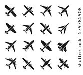 plane vector icons. fly and jet ... | Shutterstock .eps vector #579785908