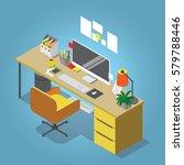isometric vector home office... | Shutterstock .eps vector #579788446