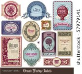 set of decorative vintage labels