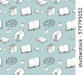 seamless pattern with books   Shutterstock .eps vector #579795052