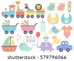 vector set of cute baby... | Shutterstock .eps vector #579796066
