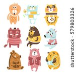 cute toy bear animals... | Shutterstock .eps vector #579803326