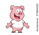 pig wearing a white t shirt | Shutterstock .eps vector #579803395