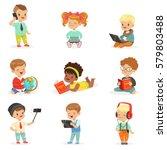 small kids using modern gadgets ... | Shutterstock .eps vector #579803488