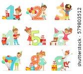 little children birthday... | Shutterstock .eps vector #579803512