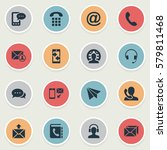 set of 16 simple contact icons. ... | Shutterstock . vector #579811468