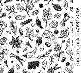 pattern with hand drawn vector... | Shutterstock .eps vector #579813016