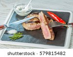 ham   red pepper and herbs on...   Shutterstock . vector #579815482