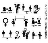 women's rights  feminism  equal ... | Shutterstock .eps vector #579843772