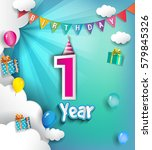1st anniversary celebration... | Shutterstock .eps vector #579845326