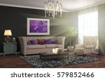 interior with sofa. 3d... | Shutterstock . vector #579852466