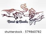 tattooed human hands holding a... | Shutterstock .eps vector #579860782