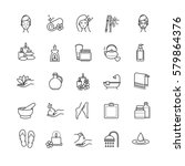 spa and beauty outline icons... | Shutterstock .eps vector #579864376