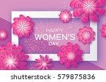 magenta paper cut flower. 8... | Shutterstock .eps vector #579875836