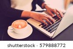 woman working with laptop in... | Shutterstock . vector #579888772