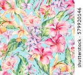 watercolor vintage floral... | Shutterstock . vector #579920146
